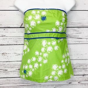 LILLY PULITZER | green strapless top white crabs